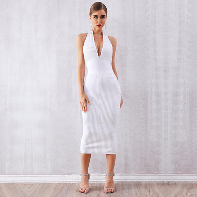 2019 Backless Halter Bandage Dresses White / S - Women Dresses | MegaMallExpress.com