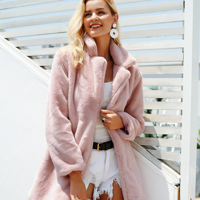 Women Faux Fur Coat Pink / L - Women Jackets & Coats | MegaMallExpress.com