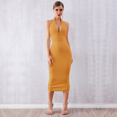 2019 Backless Halter Bandage Dresses Yellow Mustard / S - Women Dresses | MegaMallExpress.com