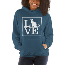 "Load image into Gallery viewer, ""LOVE (Cat)"" Hooded Sweatshirt"