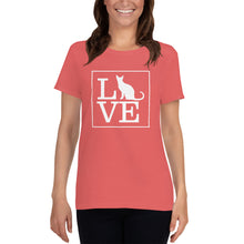 "Load image into Gallery viewer, ""LOVE (Cat)"" Women's T-Shirt"