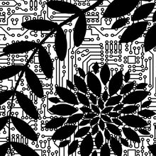 Load image into Gallery viewer, close up of pattern of black flowers on top of circuit background