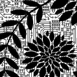 close up of pattern of black flowers on top of circuit background