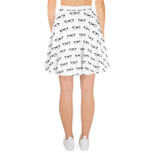 Load image into Gallery viewer, back side of white skater skirt with a pattern of black vintage eyeglasses