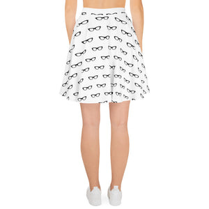 back side of white skater skirt with a pattern of black vintage eyeglasses