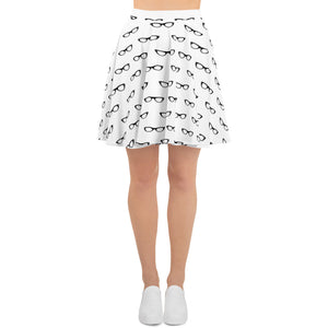 front side of white skater skirt with a pattern of black vintage eyeglasses