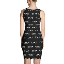 Load image into Gallery viewer, back side of black pencil dress with a pattern of white vintage eyeglasses