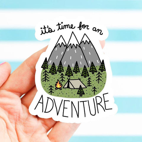 It's Time for An Adventure Camping Sticker