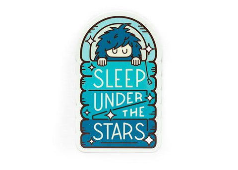 Bigfoot Sleep Under the Stars Blue Sticker