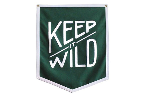 Keep it Wild green wool felt banner