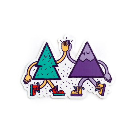 Tree and Mountain Friends High Five Sticker