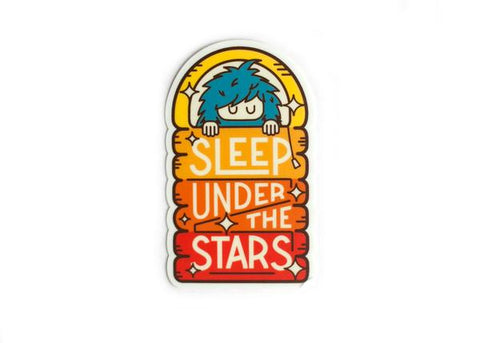 Bigfoot Rainbow Sleep Under the Stars Mini Sticker