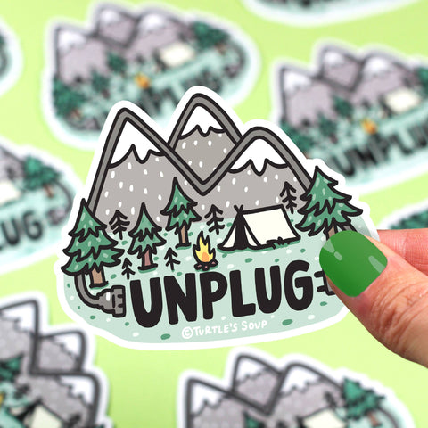 Unplug in Nature Vinyl Sticker