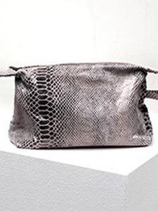 Python Leather Cosmetic Bag