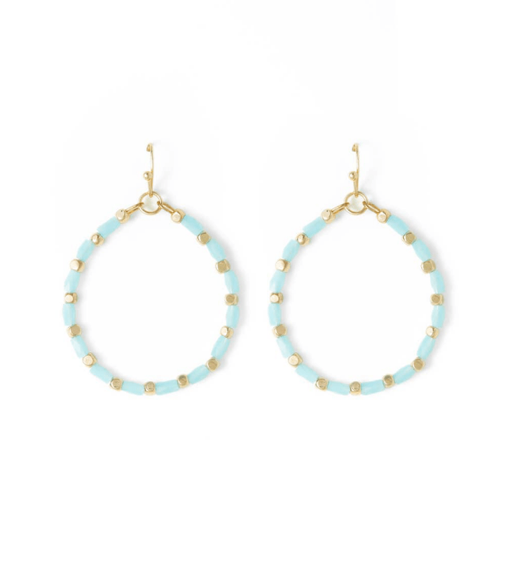 Blue Crystal Hoops