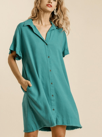 Jade Linen Button Dress