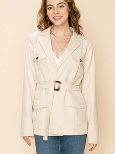 Cream Belted Jacket