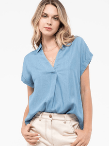 Button Chambray Top