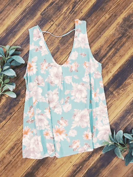 Floral Seafoam Sleeveless Top