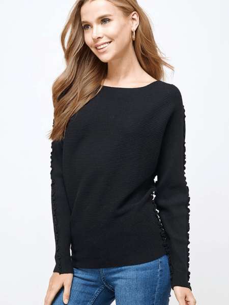 Ruffled Dolman- Black