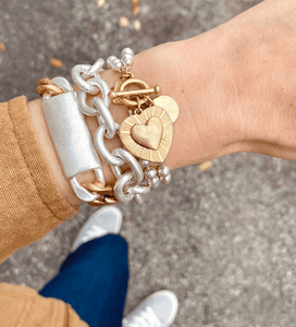 Delaine Heart Ball Chain Bracelet
