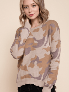 Camel Camo Sweater