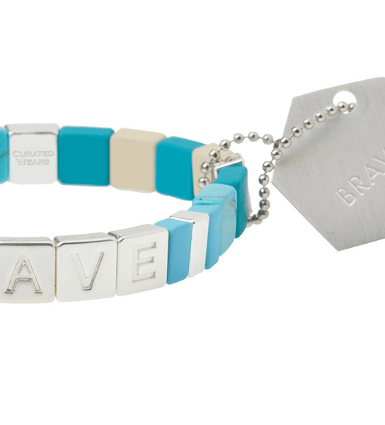 Empower/ Brave/ Silver & Turquoise