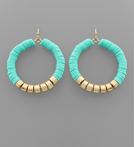 Mint & Gold Disc Hoops