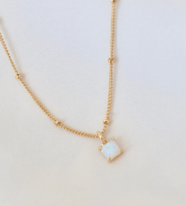 Square Opal Necklace