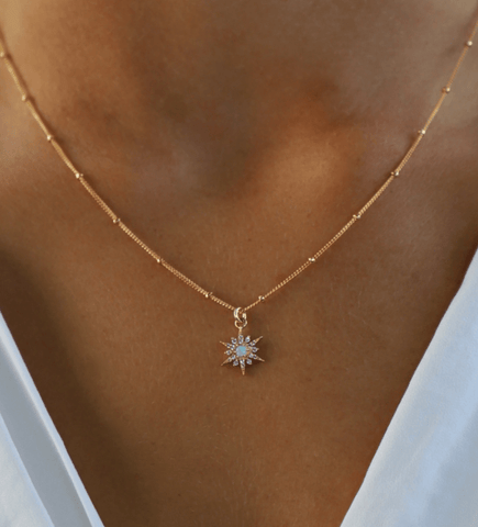 Opal & CZ Star Necklace