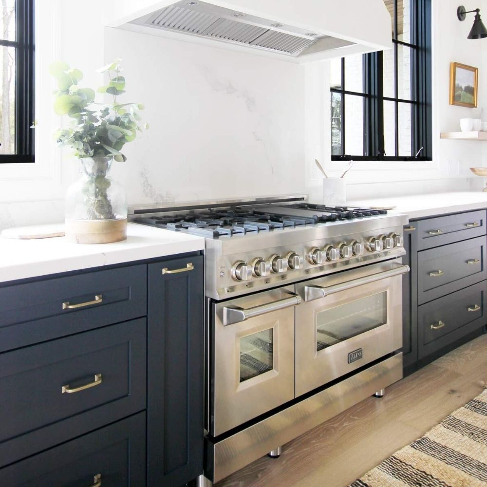 Plank and Pillow's Kitchen Featuring ZLINE's 48 Inch Dual Fuel Range RA48