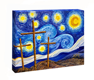 """Starry Night with Crosses"" Canvas Wrap"