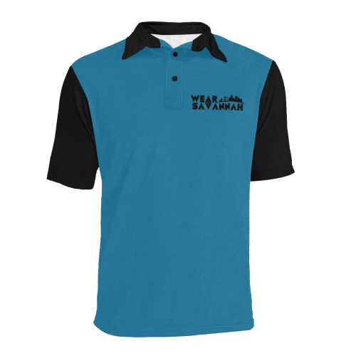 Men's Wear Savannah Black & Teal Polo Shirt