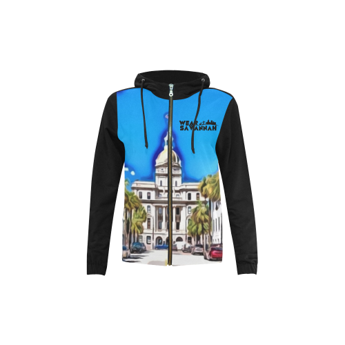 Kid's Savannah City Hall Cartoon Zip Hoodie