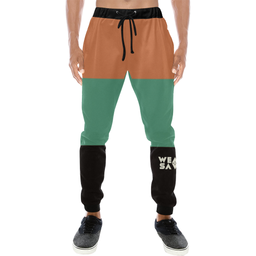Men's Black, Green & Rust Sweatpants