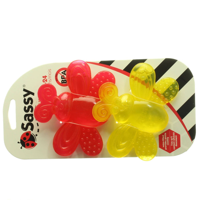 SASSY WATER FILLED TEETHERS (2 PACK YELLOW & RED) - Cibigi