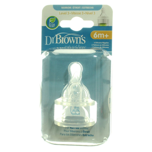Dr. Brown's Narrow Bottle Nipples, Level 3, 6m+, 2 Count