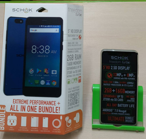 "Schok Freedom Turbo, 4G/LTE/GSM, 13MP + 8MP Cameras, 5"" Display, 16GB"