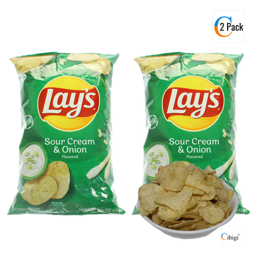 Lays Potato Chips, Sour Cream & Onion 184g