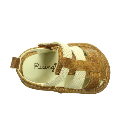 BABY BOYS BROWN AND CREAM SANDALS (Size 3) - Cibigi