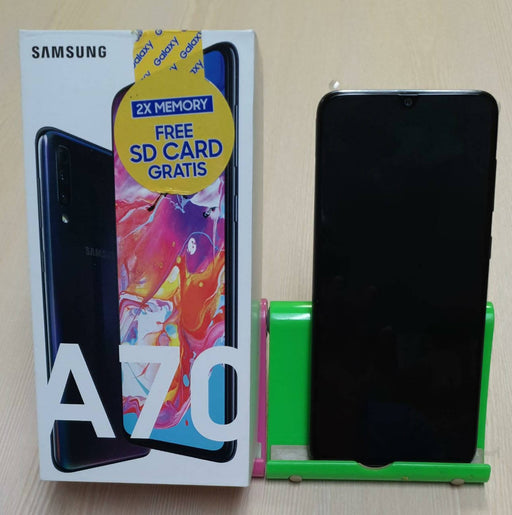 Samsung A70, Free SD Card, GSM/HSPA/LTE, Dual Sim, Triple 32+8+5+32MP Front Camera, 128GB