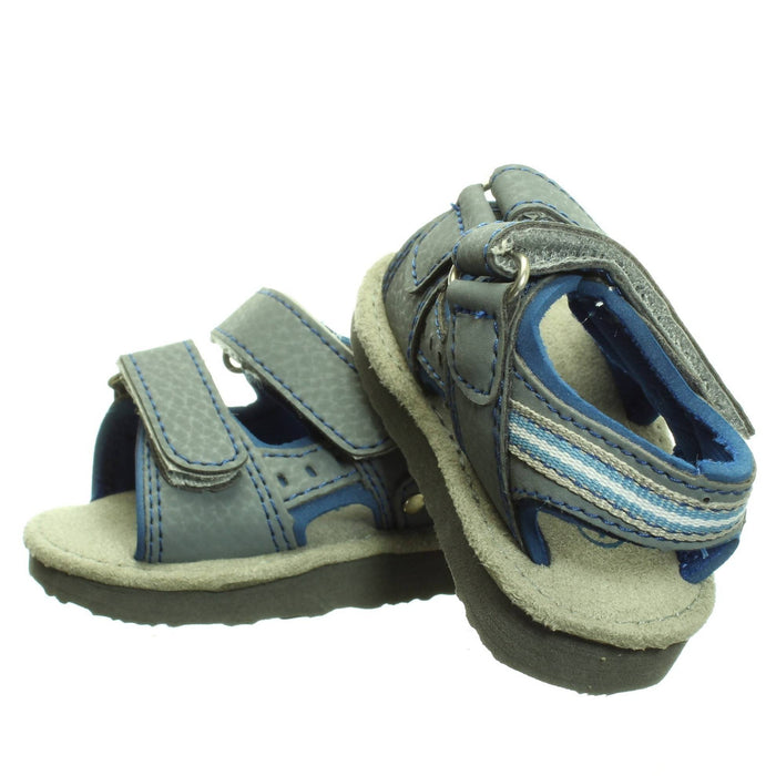 BABY BOYS BLUE-GREY SANDALS (Size 1) - Cibigi