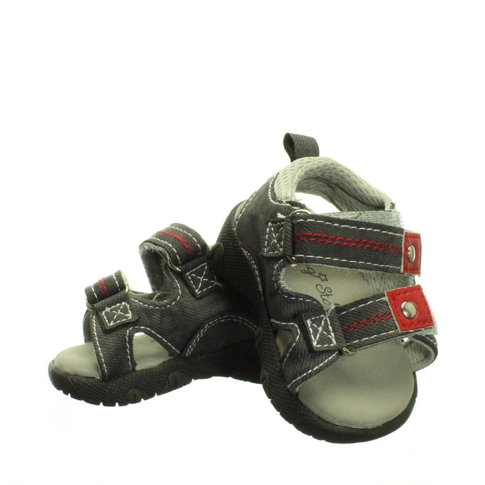 GREY-RED BABY SANDALS (Size 4) - Cibigi