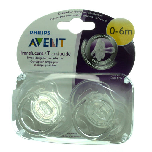 Philips Avent Translucent Orthodontic Pacifier, Clear, 0-6 Months, 2 Count