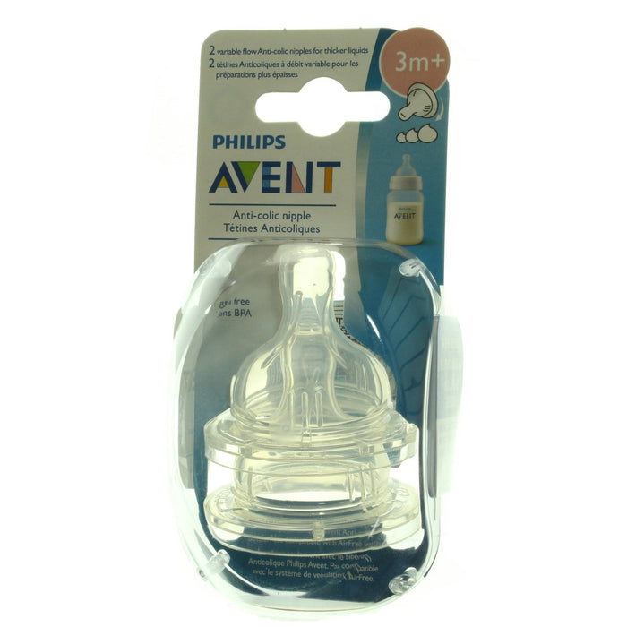 Philips AVENT Anti-Colic Nipple, Clear, Variable Flow, 2 Count