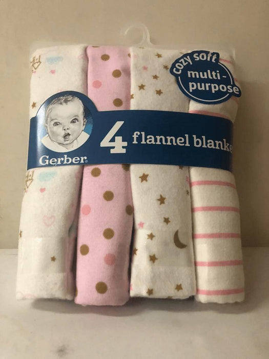 GERBER COSY SOFT MULTIPURPOSE FLANNEL  BLANKET(4 PACK)