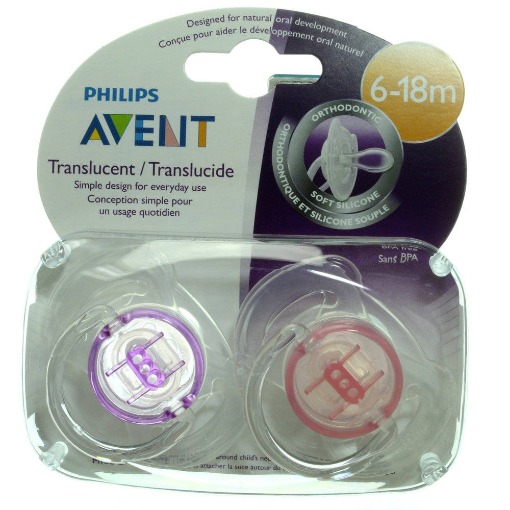 Philips AVENT Translucent Orthodontic Pacifier, Purple, Pink, 6-18M, 2 Count