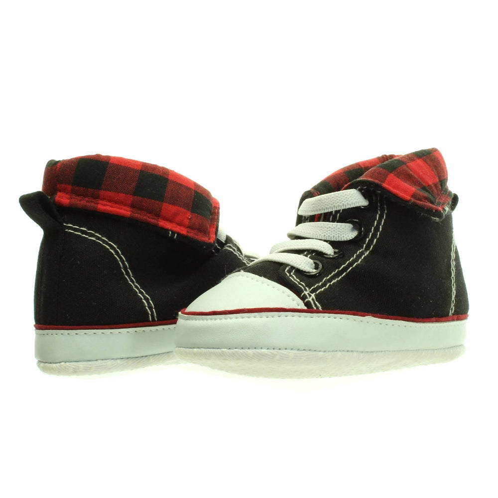 BABY BOY PLAID HIGH TOP SNEAKERS - Cibigi