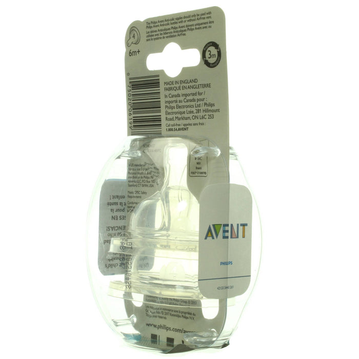 Philips Avent, Anti-Colic Nipple, Fast Flow, 6m+