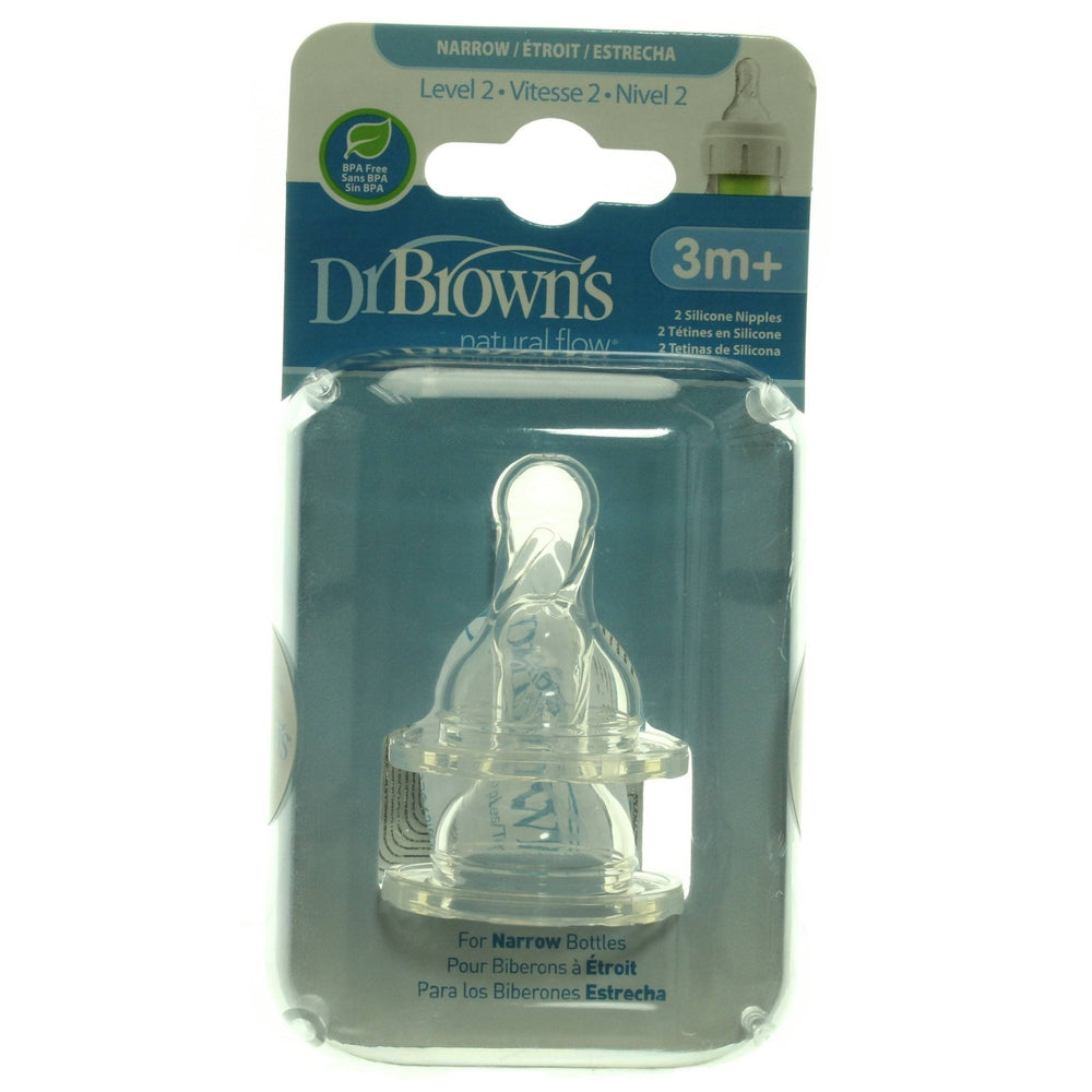 Dr. Brown's Narrow Bottle Nipples, Level 2, 3m+, 2 Count
